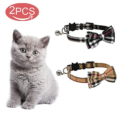 Kingkindshun Katzenhalsband, mit Sicherheitsverschluss und Glöckchen, Katzenhalsbänder mit Schleife Krawatte für kleine Hunde und Katzen, 2 Pack(Schwarz + braun)