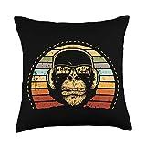 Monkey DJ Gift Designs DJ Headphones and Sunglasses Monkey Retro Throw Pillow, 18x18, Multicolor