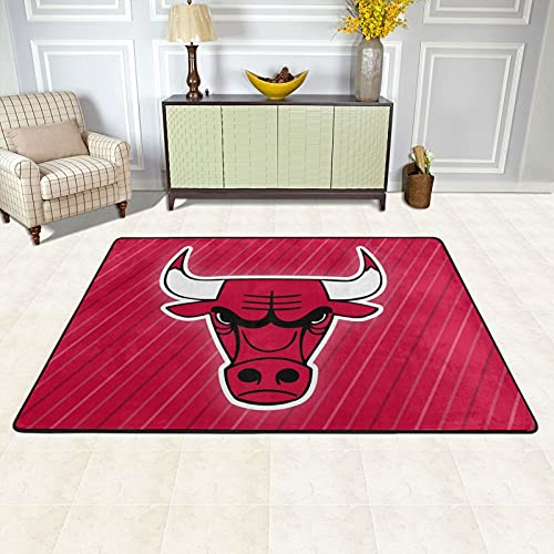 Tengyuntong Chicago Basketball Sports Modern Area Rug Soft and Comfy Indoor Carpet Bu-Ll-S Logo Non Skid Washable Kitchen Rugs Luxury Front Back Door Mats for Kid Bedroom Living Room 36'X24'