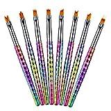 8Pcs Nail Brush Kit,Nail Art Mermaid Brush Gradient French Moon Shading Pen Painting Drawing Tips Acrylic Gel UV Polish Design Manicure Tools