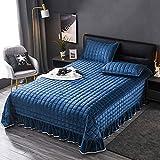 Baby Crystal Velvet Tagesdecke / Bettlaken Baumwolle Steppdecke 3-teiliges Schlafzimmer Dekor Ganzjährige multifunktionale Bettdecke / Decke mit 2 Kissenbezügen, blau-superKing: 245x270cm + 50x70cmx2