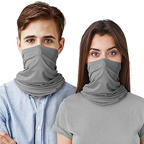Nescop 2 unids unisex abrigo de cabeza resistente a los rayos UV al aire libre Polaina elástica deportiva diadema multifuncional para correr ciclismo (gris claro)