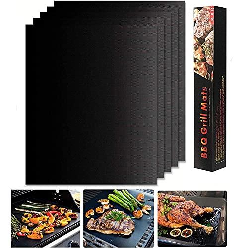 A/Y BBQ Grillmatte 5er Set, Teflon Grillmatten Robust und Extra Dick Perfekt für Fleisch Fisch und Gemüse für Verschiedene Grillarten Grillmatten Gasgrill