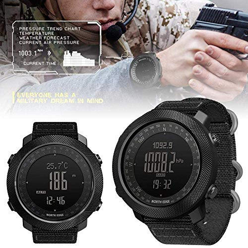 Reloj deportivo multifuncional para hombre,altímetro, barómetro,brújula,resistente al agua,50 m,relojes militares del ejército,cronómetro táctico con retroiluminación LED,natación,correr,(negro)