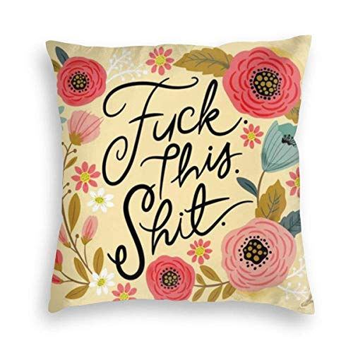 Hangdachang Pretty Sweary Fuck This Shit in Yellow Velvet Soft Decorative Square Throw Pillow Covers Cushion Case Pillowcases for Sofa Chair Bedroom Car 18X18inch