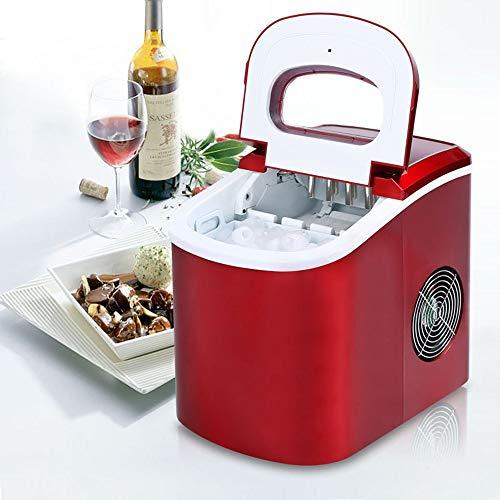 Summer Day 12KG Gewerbe Eismaschine Haushaltsklein Mute Runde Ice Tea Shop KTV-Handbuch Wasser Automatik-EIS-Hersteller 24,2 * 35,8 * 32.8cm, Rot, Blau, Grau A Cool Summer (Farbe : Red)