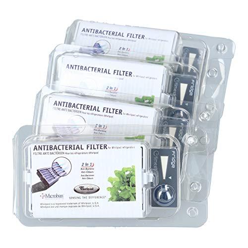 Whirlpool | 4er Pack - Microban ANT001, ANT-001, ANTF-MIC, HYG001, 481248048172 - Antibakterieller Hygiene Luftfilter für Bauknecht Whirlpool Side-by-Side Kühlschrank