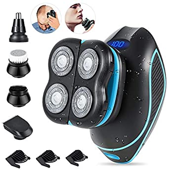 Head Shaver,Teamyo Head Shavers for Bald Men,5D Floating Electric Shaver for Men 5 in 1 Bald Head Shaver with Hair Clippers Nose Hair Trimmer Facial Cleansing & Exfoliating Brush
