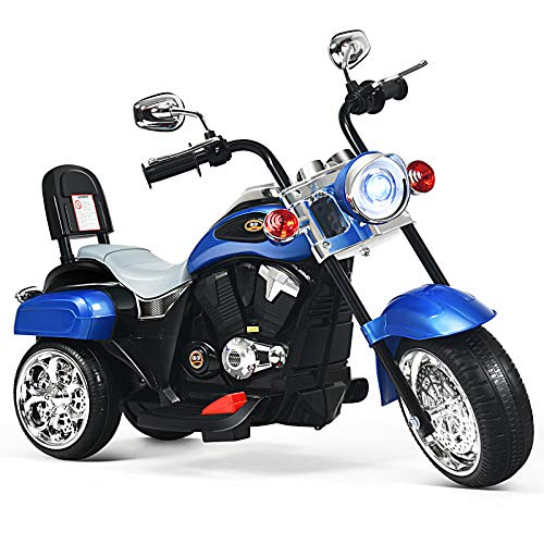 HONEY JOY Kids Ride On Motorcycle, 3 Wheels Electric Chopper Trike Motorcycle, Pedal Switch, Headlights, Music, Horn, 6V Battery Powered Ride On Toy for Toddler Boys Girls (Blue)