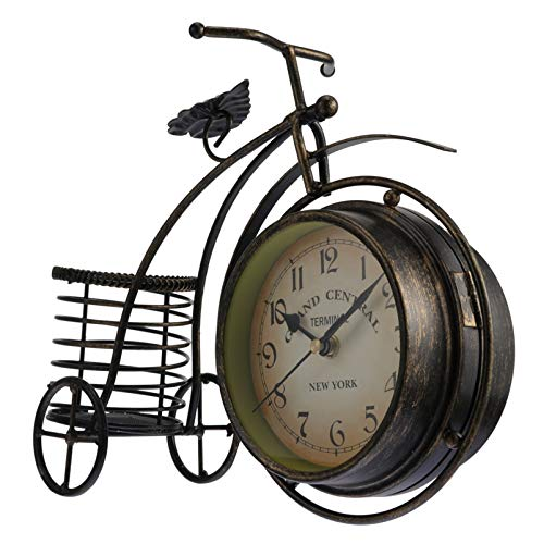 VOSAREA Vintage Metal Bicycle Desk Clock Rustic Bike Clock Double Side Table Non Ticking Decorative Clock for Office Table Decorations Golden