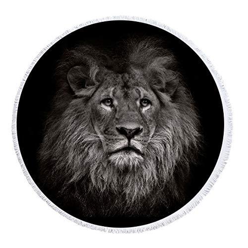 xkjymx Toalla de Playa Redonda de Microfibra Toalla de baño Cinta de impresión de león Borla 150cm Figura 7 150X150cm