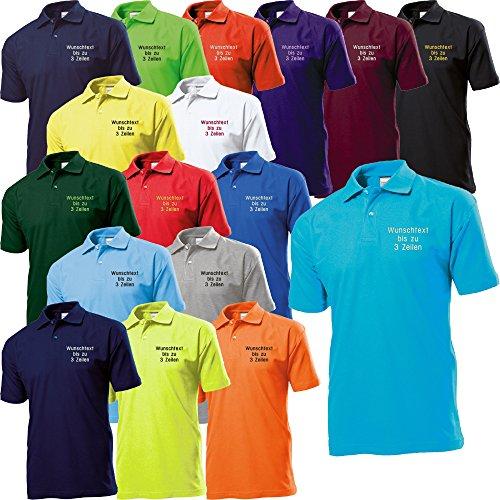Stedman Polo-Shirt Polohemd Bestickt mit Name/Wunschtext/Spruch Wunschstickerei ideal für Verein/Firma/Club (XL, Black Opal)