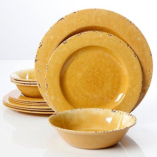 Studio California Mauna Crackle 12 Piece Melamine Dinnerware Set, Yellow