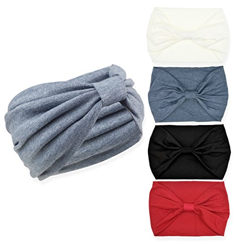 DRESHOW 4 Pack Turban Headbands for Women Hair Vintage Flower Printed Cross Elastic Head Wrap