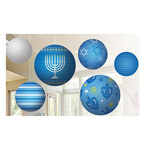 Zion Judaica Hanukkah Ball Lantern Decoration Ceiling Mount 6 Set