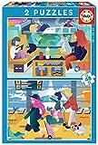 Educa-En el Aeropuerto + En el Tren 2 Puzzles de 48 Piezas, Multicolor (18604)
