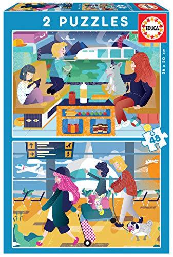 En el Aeropuerto + En el Tren 2 Puzzles de 48 Piezas, Multicolor (18604)