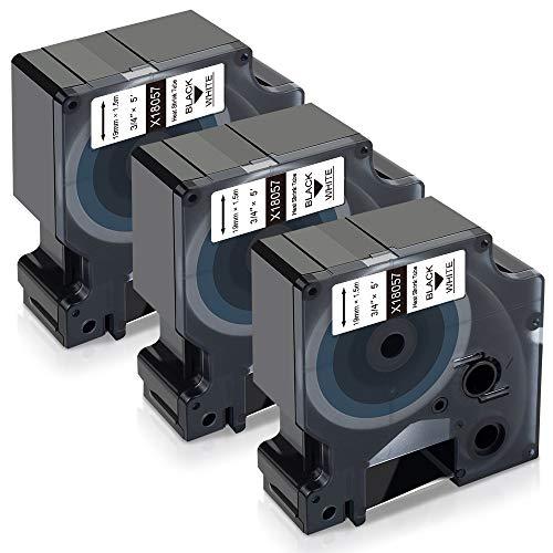 Xemax Kompatibel Rhino-Industrie-Vinyletiketten für Dymo 18057 Rhino Schrumpfschlauch-Etiketten, für die Industrie, Schwarz auf Weiß für DYMO Rhino 4200 5200 6000, 19 mm x 1,5 m, 3er-Pack
