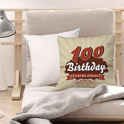Funda de Cojines Suave Poliéster,Decoraciones de 100 años, envoltura de chocolate como invi,Funda de Almohada Cremallera Oculta Duradero Decoración para Sofá Cama Dormitorio Aire Libre Oficina 45x45cm