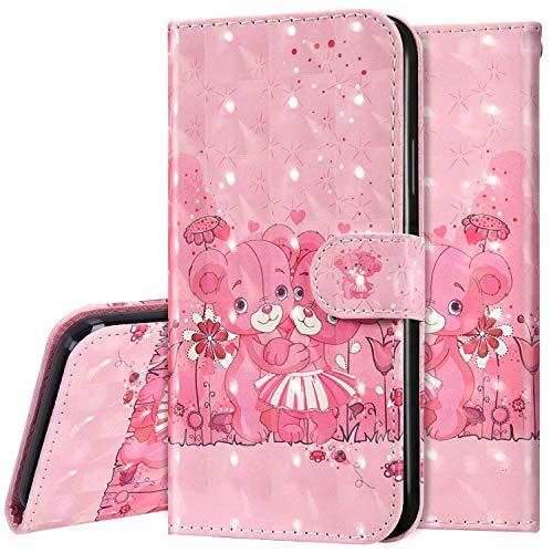 Surakey kompatibel mit Huawei P40 Lite Hülle Leder Handyhülle,Bunt 3D Bling Glitzer Glänzend Muster Leder Tasche Schutzhülle Klapphülle im Bookstyle Handytasche Flip Case Cover,Rosa Bär