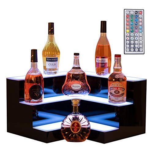 Nurxiovo LED Liquor Bottle Display 20 Inch 3 Step Corner LED Display Shelf DIY Mode Illuminated Bottle Shelf Color Changing with LED Color Remote Control for Home Party Bar L20xW20xH12''