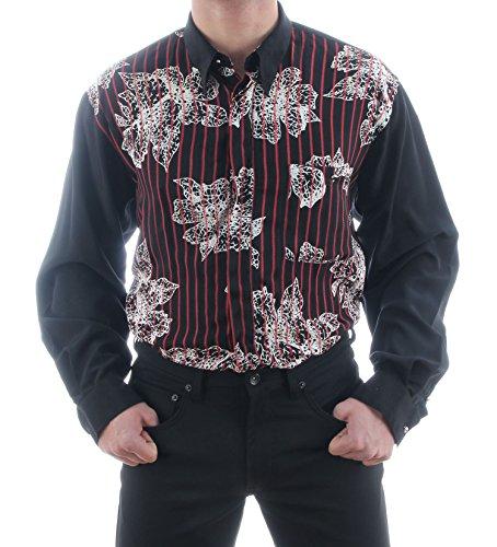 Hawaiihemd in zwart, voor heren beste kwaliteit, HK amandel speciaal shirt met lange mouwen normaal niet getailleerd
