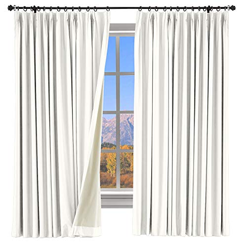 ChadMade Extra Wide Curtain Panel 100% Blackout Drape Pinch Pleated White Drapery with Foam Coated Liner Thermal Insulated Curtain Luxury Full Shading Panel for Day Sleeper Bedroom (1 Panel)