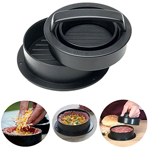 MILIER Burger Press, 4 in 1 Gefüllter Burger Maker Non-Stick Hamburger Mold Kit für Grillen