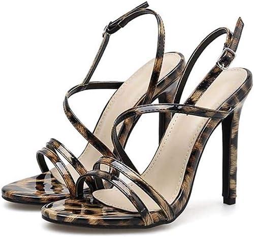 Mamrar Les Femmes pompent Le léopard d'impression à Talons Hauts Hauts Sandales Sexy D'Orsay Slingbacks OL Court Roma chaussures EU Taille 34-40  meilleur choix