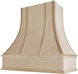 Wholesale Wood Hoods Curved with Strappings Style Hood Wooden Chimney Range Wall Mounted for Kitchen with 18