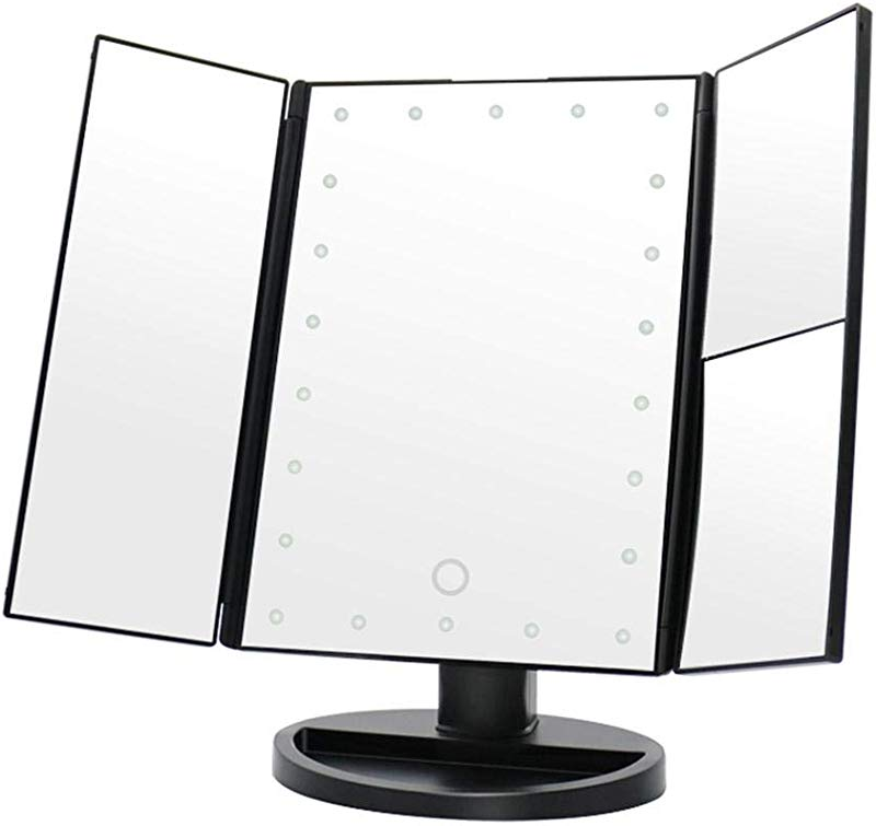 Myonly Makeup Mirror LED Foldable Lighted Makeup Vanity Mirror Table Top Mirror With 22 LED Lamp Beads