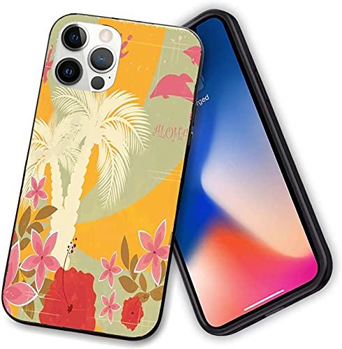 Compatible con iPhone 12 Series, Aloha Vintage colorido Swirl telón de fondo delfines palmeras flores, funda flexible para teléfono iPhone 12 Pro max-6.7 pulgadas