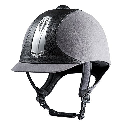 """CHOPLIN """"Premium"""" Reithelm, grau/schwarz, silberfarbener Einsatz, 55"""