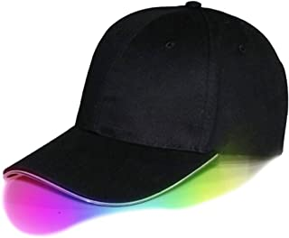 Shallho LED Light Up Baseball Cap Hat Cotton Cap + PU Light Guide Fiber One Size Fit All Easily Adjustable 3 Lighting Modes Battery Powered Glow Club Party Sports Athletic Stage Travel Hat Cap