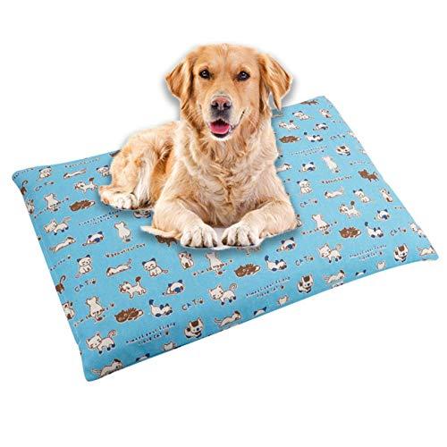 Cómodo Colchón para Mascotas Cojines De La Perrera Cama De Estera Suave Y Cálida Cojín para Gatos Perros Sofá con Cojín para Mascotas De Doble Propósito Otoño E InviernoLight Blue-Small