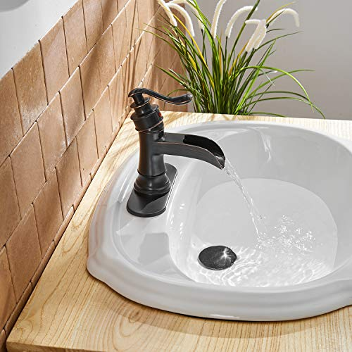 BWE Waterfall Bathroom Faucet Single-Handle One Hole Sink Faucet Deck Mount Oil Rubbed Bronze Vanity Faucets