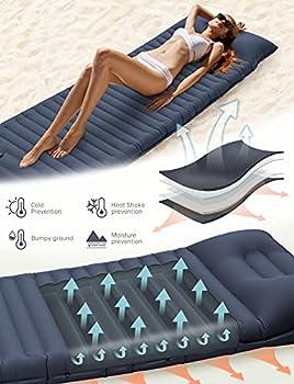 YISSVIC Matelas Camping Gonflable Plus Épais Tapis de Couchage Coussin Gonflable Pompe à Pied Ultraléger avec Oreiller pour Camping Voyage Randonnée (Bleu)