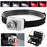 BORUiT LED Mini Headlamp with Red Light - White & Red Zoomable Hunting Headlight...