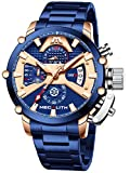 MEGALITH Relojes Hombre Cronografo Reloj Acero Inoxidable Azul Relojes de Pulsera...