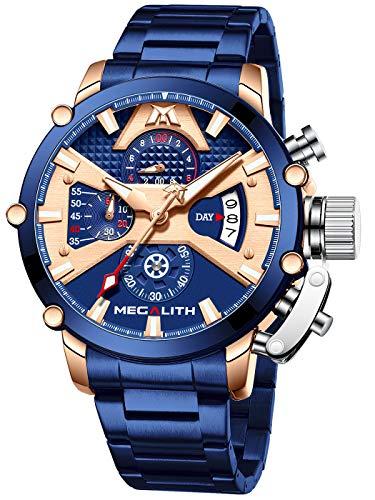 MEGALITH Relojes Hombre Cronografo Reloj Acero Inoxidable Azul Relojes de Pulsera Analogico Impermeable Luminoso Fecha