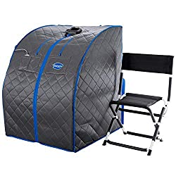 Durasage Personal Portable Infrared Sauna Spa for Weight Loss, Detox, Relaxation at Home, 30 Minute Timer, with Negative ION, Handheld Remote Control, Heated Footpad and Premium Chair, XLarge, Gray