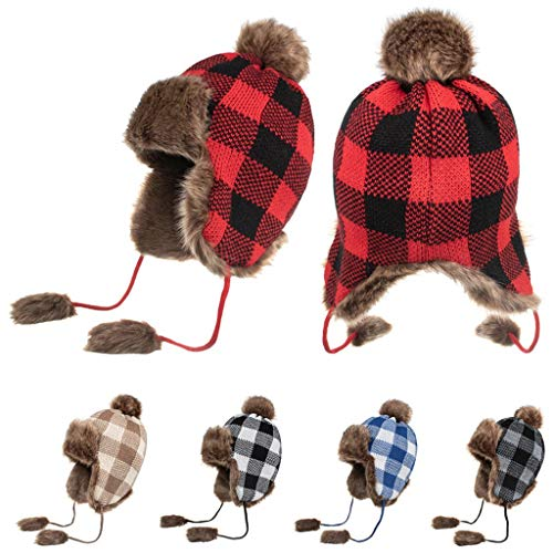 Plaid Knit Winter Hats Furry Ball Plush Warm Ear Coverings Berets Caps with Tassel Xmas Gifts (Red, 30X36CM)