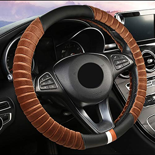 YSXFXFZP Warm Winter Pluche Auto Stuurwiel, beschermer, Vrouwen, Universeel (14,5 tot 15,5 inch), dik, Anti-slip Koffie