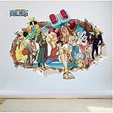 HNXCWR123 Cartoon Anime Poster Luffy Broken Wall Efecto 3D Pegatinas De Pared para Habitación De Niños Vinilos Decorativos One Piece Posters Kids Gift Mural 50X70