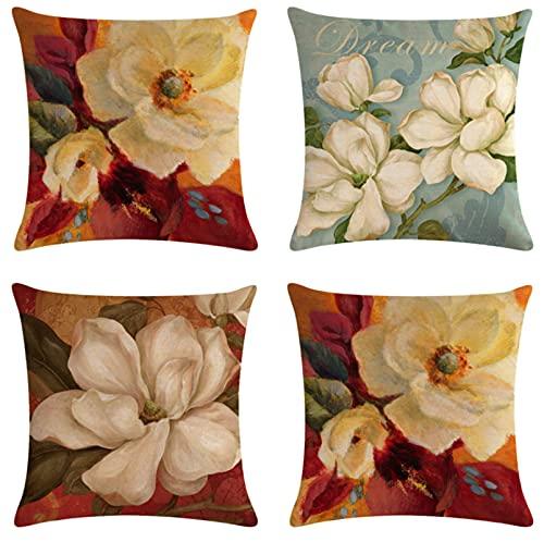 JOVEGSRVA Juego de 4 fundas de almohada decorativas de dibujos animados de flores blancas de 45 cm x 45 cm para sala de estar sofá cama