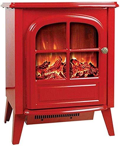 NFJ Elektrischer Led Kamin Tragbarer Kaminofen 2000W - 54cm Hoher Freistehender Kamin Features Heizung Und 2 Lüftereinstellungen Mit Realistisch Und Hell 3D Brennendes Feuer Und Protokolle,Red
