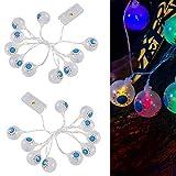 Apipi 20Pcs LED Halloween String Lights- Halloween Eyeball String Lamp for Indoor Outdoor Halloween Party Garden Yard Decoration (2 Strings)