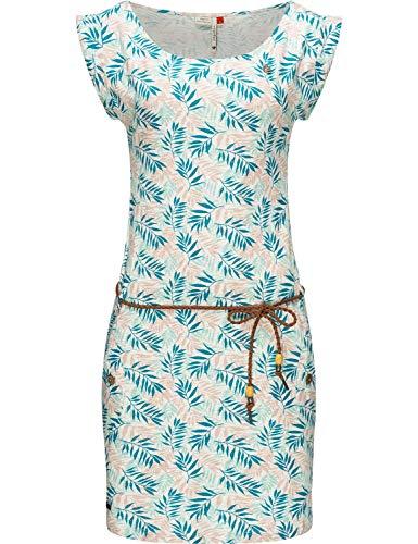 Ragwear Damen Kleid Dress Sommerkleid Strandkleid Jerseykleid Freizeitkleid Tag Leaves Weiß Gr. L