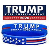 Sainstone Trump Keep America Great with USA Flag for President 2020 Silicone Bracelets - Inspirational Motivational Wristbands - Adults Unisex Gifts for Teens Men Women (Blue)