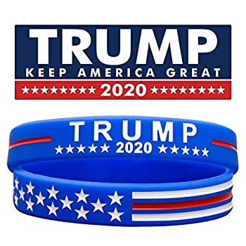 Sainstone Trump Keep America Great with USA Flag for President 2020 Silicone Bracelets - Inspirational Motivational Wristbands - Adults Unisex Gifts for Teens Men Women  Blue